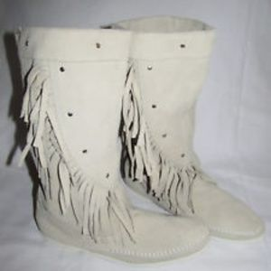 RARE Minnetonka White Suede Fringe High Boots